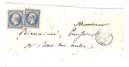 Lettre Locale De BAR Sur SEINE, Aube, Tarif  DOUBLE PORT, 1 Février 1856 Pc 250 Sur N° 14 A F BLEU LAITEUX X 2 ,TTB - Marcofilia (sobres)