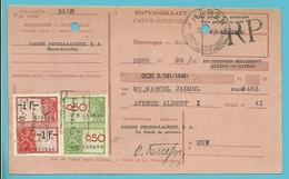 """ONTVANGKAART Met Fiscale-zegel Met Firmaperforatie U.P.L. """"Usines Peters-Lacroix Haren"""" - 1934-51"""