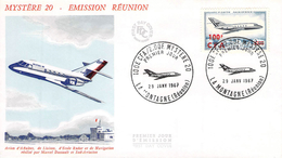 Lettre Poste Aérienne Premier Jour Mystère 20 Surcharge 100 F CFA Cachet La Montagne La Réunion - Réunion (1852-1975)