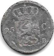 *netherlands 25 Cents 1829 B Km 48  Fr+ - [ 3] 1815-… : Regno Dei Paesi Bassi