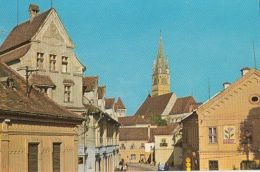 57015- MEDIAS- STREET VIEW, CLOCK TOWER, CAR - Roumanie