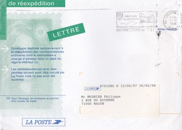 LETTRE ENVELOPPE DE REEXPEDITION LA POSTE MACON CALUIRE EN 1997 LOT DE 2 LETTRES - Marcophilie (Lettres)