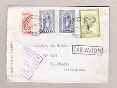 Griechenland Zensur Luftpost Brief Thessaloniki 8.6.1950 Nach St Gallen - Grèce