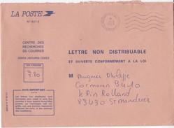 LETTRE NON DISTRIBUABLE ET OUVERTE CONFORMEMENT A LA LOI TAXEE A 3.80 LIBOURNE EN 1987 - Poststempel (Briefe)