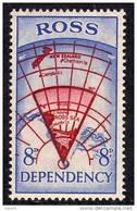 ROSS N° 3 XX Expédition Néo-zélandaise Transantarctique Carte De L´antarctique Néo-zélandais 8 P. Outremer Et Carmin TB - Dépendance De Ross (Nouvelle Zélande)