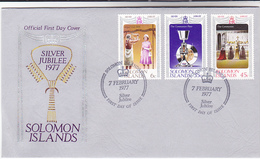 1977  SOLOMON ISLANDS  FDC Stamps ROYAL SILVER JUBILEE Cover Royalty Religion Christianity - British Solomon Islands (...-1978)