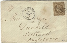 1869 ? Enveloppe De PORTRIEUX ( C. D\´Armor)  Cad T16 Affr. N°30 SEUL Oblit. G C 2996 Pour L'Ecosse - 1849-1876: Période Classique