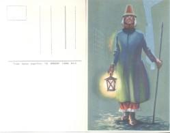 EL SERENO AÑO 1820 - TRAJES TIPICOS ARGENTINOS CPA CIRCA 1940 RARE DOS DIVISE UNCIRCULATED - Kostums