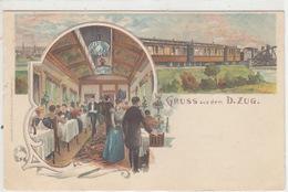 Gruss Aus Dem D-Zug - Litho - Bahnpoststempel - 1904   (170305) - Treni