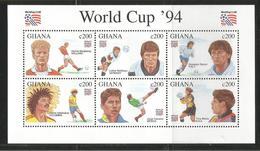 1994 Ghana World Cup Football  Complete Set Of 6 And 2 Souvenir Sheets MNH - Ghana (1957-...)