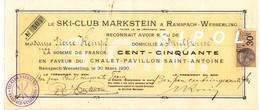 Action  N° 504 De Cent Cinquante  Francs  Au Profit De P.Kempf En Faveur ...émise Le 30/3/1930 Timbre Fiscal - Shareholdings