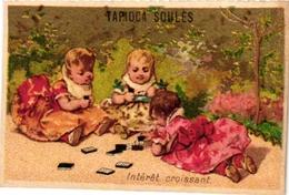 5 Cards  PUB Tapioca Soules BEBES Jouent DOMINO  Printer Champenois Paris - Jeux De Société