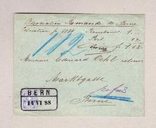 Schweiz WZ 12Rp Bern 14.6.1888 Bahnstempel Auf Ortsbrief Refusiert - 1882-1906 Armarios, Helvetia De Pie & UPU