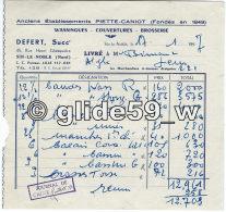 Bon De Livraison - Anciens Ets PIETTE-CANIOT - DEFERT Succr - Wassingues, Couvertures, Brosserie - Sin-le-Noble Le 17-1- - 1950 - ...