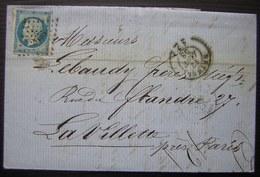 1858 PC De Rethel (Ardennes) Sur Une Lettre Pour La Villette - Postmark Collection (Covers)