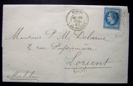 1867 Oblitération Paris Etoile 22 Sur Une Lettre Pour Lorient - Marcophilie (Lettres)