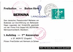 CP De Scuol (27.08.1960) Pour Saint Moritz Freiballon_Bernina_Ballon Libre - Lettres & Documents