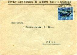 C5 Sarre Saar Lettre Pour La Suisse Avec Mi 92  Du 20.10.1923 - Zone Française