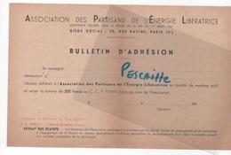 FRANC MACONNERIE - BULLETIN D'ADHESION ASSOCIATION DES PARTISANS DE L'ENERGIE LIBERATRICE - G O D F - Historical Documents