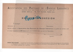 FRANC MACONNERIE - BULLETIN D'ADHESION ASSOCIATION DES PARTISANS DE L'ENERGIE LIBERATRICE - GRAND ORIENT DE FRANCE - Historische Dokumente