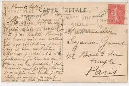 PARIS-74 R. BAYEN LA FRANCE DOIT SAUVER SES EILITES.... Sur CP. 1927. - Oblitérations Mécaniques (flammes)