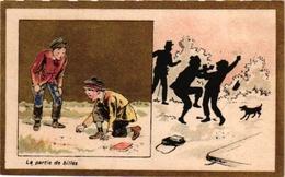 6Cards C1900 PUB  Choc De Guyenne Imp Champenois Choc Bessède Van Leckwijck   Play At Marbles Jouer Aux Billes Murmeln - Jeux De Société