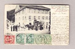 Schweiz AK BL Langenbruck 3.9.1901 über Frankreich, Deutschland, Ungarn Eingeschrieben Mit Perfin Marken Zurück - 1882-1906 Armarios, Helvetia De Pie & UPU