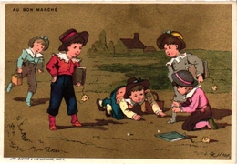 2Cards C1900 PUB Calendrier Calendar 1885 Fil à Coudre Julius SCHURER A B Marché Marbles Jouer Aux Billes Murmeln - Jeux De Société