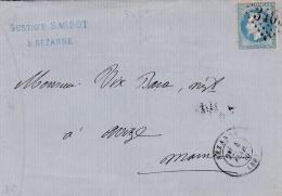 FRANCE   :  Empire 29 Sur LaC    GC 3403  Sézanne (49))  CaD Du 04 02 1870 - Marcophilie (Lettres)