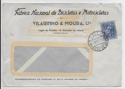 PORTUGAL - 1957 - ENVELOPPE PUB DECOREE THEME MOTO + CYCLISME De S.MAMEDE DE INFESTA - 1910-... Republic
