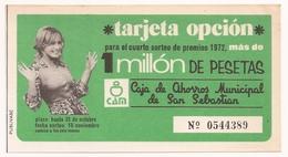 Doc, Tarjeta Opcion, Caja De Ahorros Municipal De SAN SEBASTIAN - Anuncios