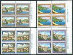 Italia 1987; Turistica: Verbania Pallanza, Palmi, Vasto, Villacidro. Serie Completa In Quartine D' Angolo FLUORESCENTE - 6. 1946-.. Repubblica
