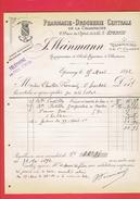 FACTURE 1892 PHARMACIE DROGUERIE CENTRALE DE LA CHAMPAGNE 2 PLACE DE L HOTEL DE VILLE A EPERNAY - France