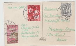 Yu109 / JUGOSLAWIEN -  Mischfrankatur Auf Karte Aus Split Nach Strassburg - Covers & Documents