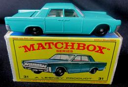 LESNEY - MATCHBOX *** NR 31 LINCOLN CONTINENTAL -  ORIGINAL BOX - VOITURE CONDITION A - EN BOITE ORIGINALE *** 1964 ! - Jouets Anciens