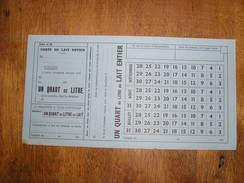 RATIONNEMENT,WW2,Carte De Lait Entier,un Quart De Litre - 1939-45