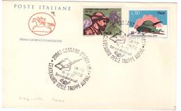 ITALIA - FDC - ANNO 1972 - FDC CAVALLINO - CENTENARIO CORPO DEGLI ALPINI - CASSANO D'ADDA - TRUPPE ALPINE - - F.D.C.