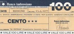MINIASSEGNO BANCO AMBROSIANO L.100  LA CENTRALE -FDS (MA4 - [10] Assegni E Miniassegni