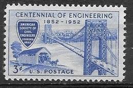 1952 3 Cents Civil Engineering Bridges Mint Never Hinged - Stati Uniti