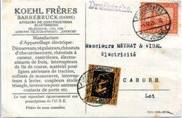 C5 Sarre Saar Carte Imprimé Avec Mi 85 Et 98 Du 4.12.1929 - Zone Française