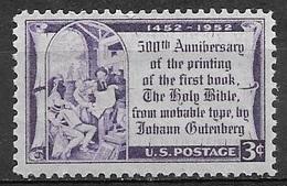 1952 3 Cents Gutenberg Bible, Mint Never Hinged - Stati Uniti