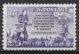 1952 3 Cents Newspaper Boy, Mint Never Hinged - Stati Uniti