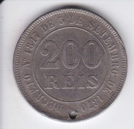 KM 478 MONEDA DE BRASIL DE 200 REIS DEL AÑO 1884  (COIN) (con Agujero) - Brasil