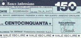 MINIASSEGNO BANCO AMBROSIANO L.150  LA CENTRALE -FDS (MA19 - [10] Assegni E Miniassegni
