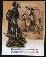 CUBA 1999, PHILEXFRANCE 99, NAPOLEON, Tableau Et Statue. 1 Bloc, Oblitéré / Used. R1249 - Napoleon