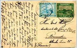 C5 Sarre Saar Carte Postale (Saarbrücken Winterberg Denkmal) Pour La Roumanie Avec Mi 86 Et 99 13.8.1924 - Zone Française