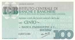 MINIASSEGNO ISTITUTO CENTRALE BANCHE E BANCHIERI L.100 BANCA PASSADORE- FDS (MA47 - [10] Assegni E Miniassegni