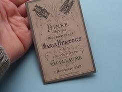 DINER Offert Par MARIA HERTOGS à Son Cher Frère GUILLAUME 7 Novembre 1878 ( Elisa Coveliers / Zie Foto Voor Details ) !! - Menus