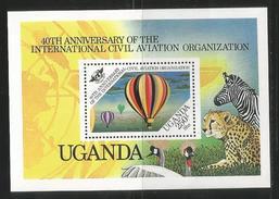 1984 Uganda ICAO Aviation Airplanes Hot Air Balloon   Complete Set Of 4 And Souvenir Sheet MNH - - Uganda (1962-...)