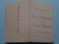 Première COMMUNION De Léon PAUWELS Le 16 Juin 1892 ( Melle Jeanne Coveliers / Zie Foto Voor Details ) !! - Menus